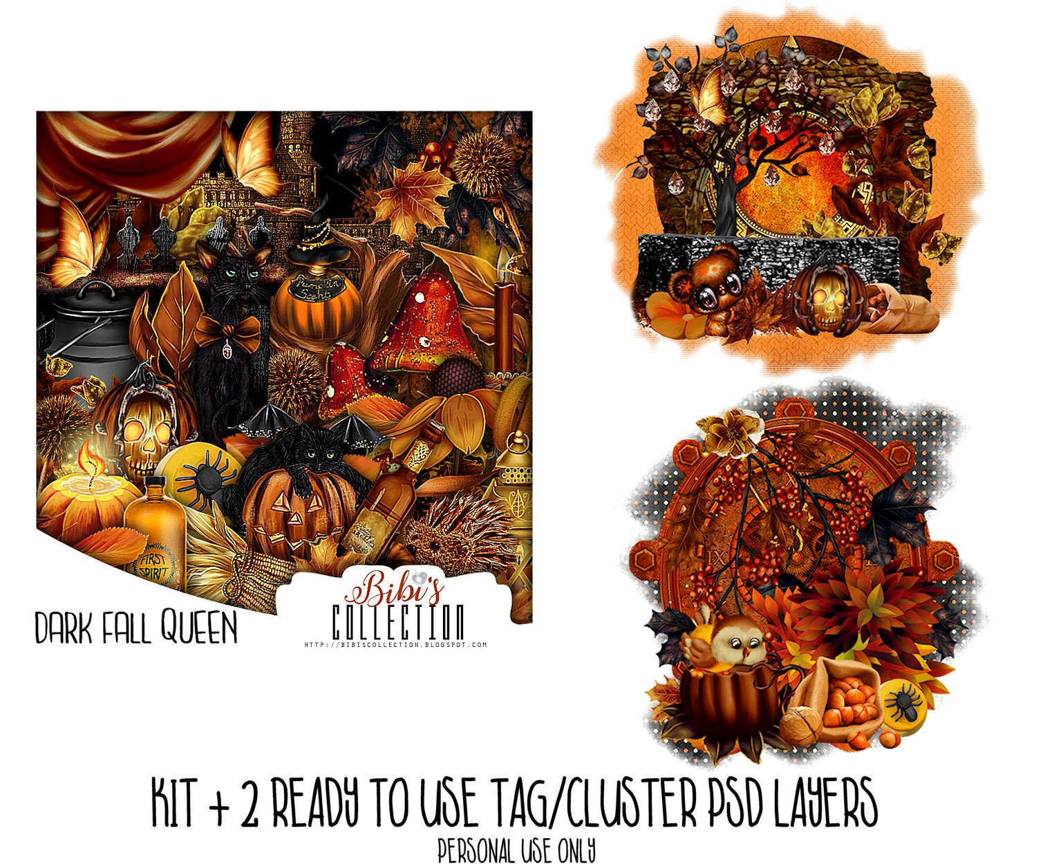 DARK FALL QUEEN +READY CLUSTER TAGS PSD